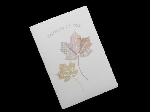 scottish thinking of you card tartan leaves