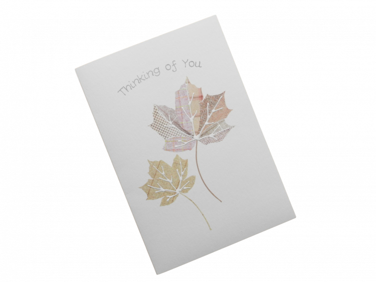 scottish thinking of you card tartan leaves