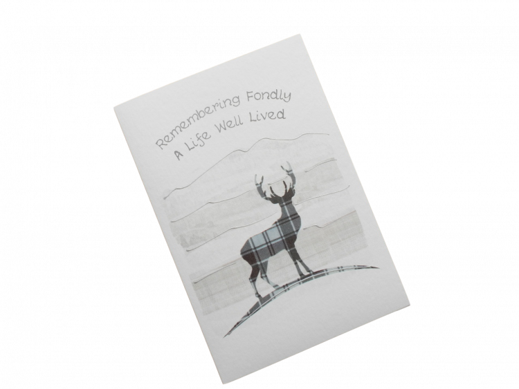 scottish sympathy card tartan stag
