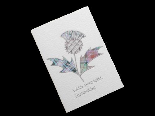 scottish sympathy card thistle tartan