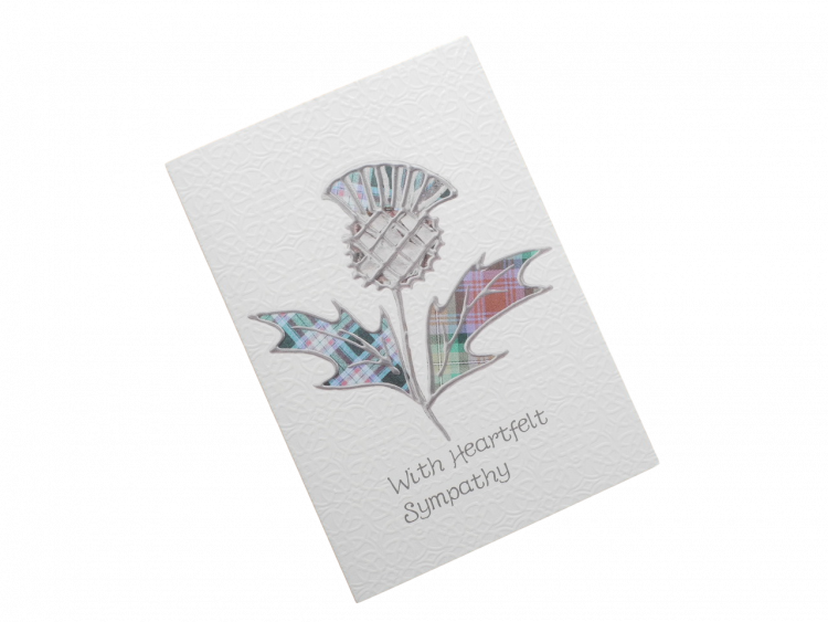 scottish sympathy card thistle tartan