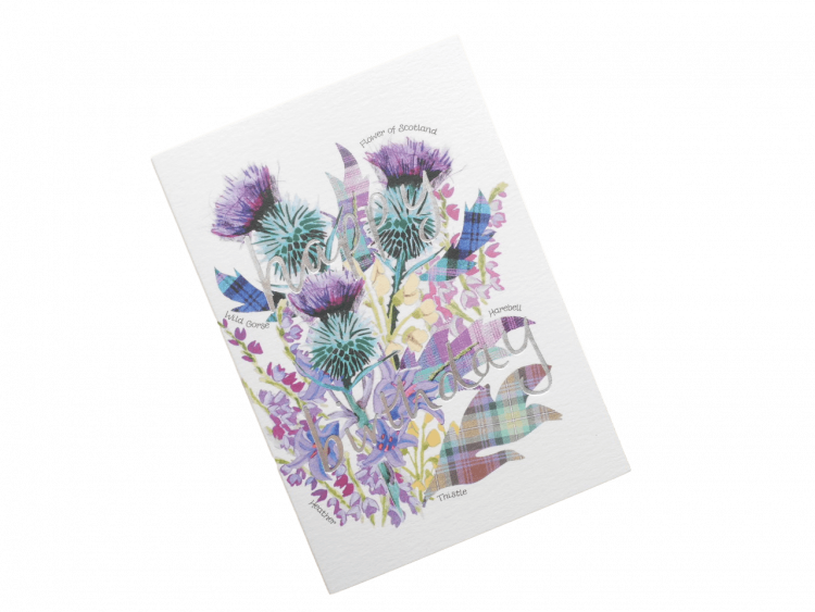 scottish birthday card thistles flower of scotland
