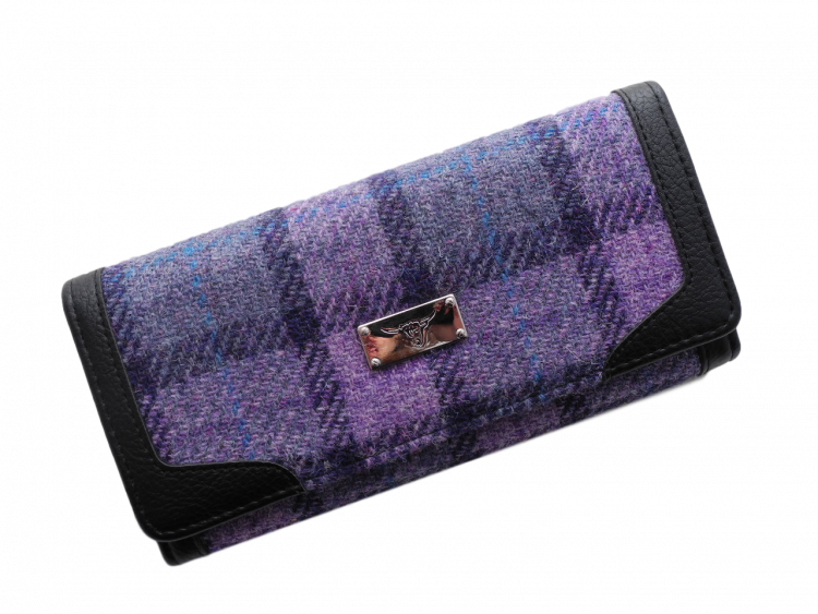 scottish ladies gift harris tweed purse purple check