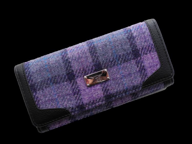 scottish ladies gift harris tweed purse purple check