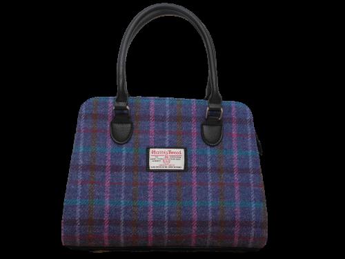 scottish ladies gift harris tweed handbag shoulder bag navy check