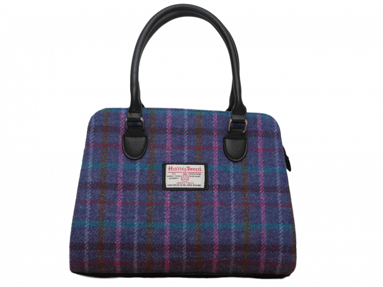 scottish ladies gift harris tweed handbag shoulder bag navy check