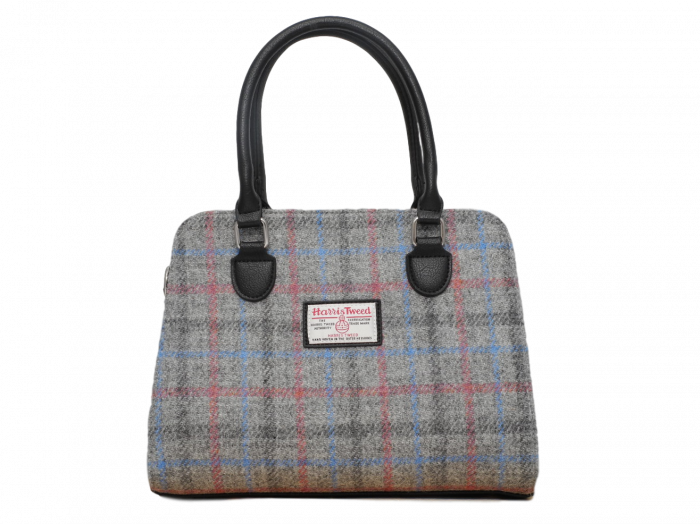 scottish ladies gift harris tweed handbag shoulder bag grey check
