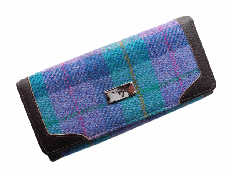 scottish ladies gift harris tweed purse turquoise check
