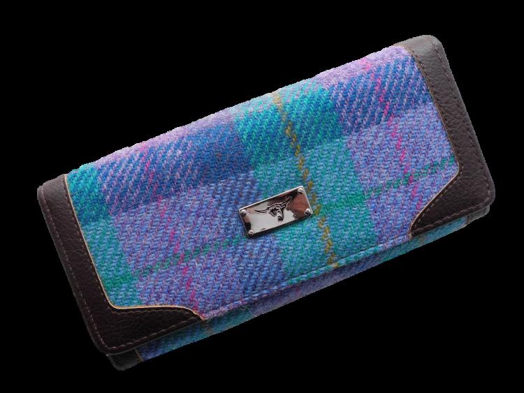 scottish ladies gift harris tweed purse turquoise check