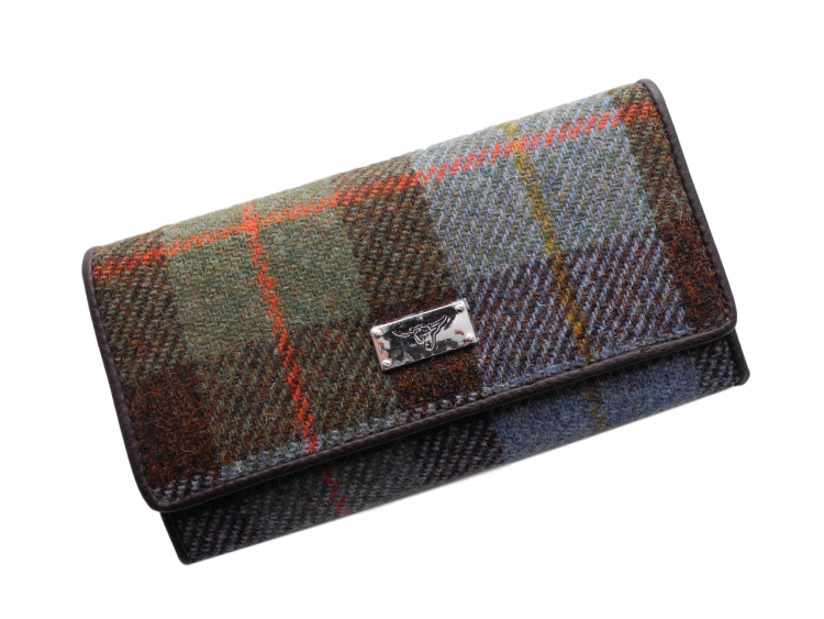 scottish gift harris tweed purse blue green check
