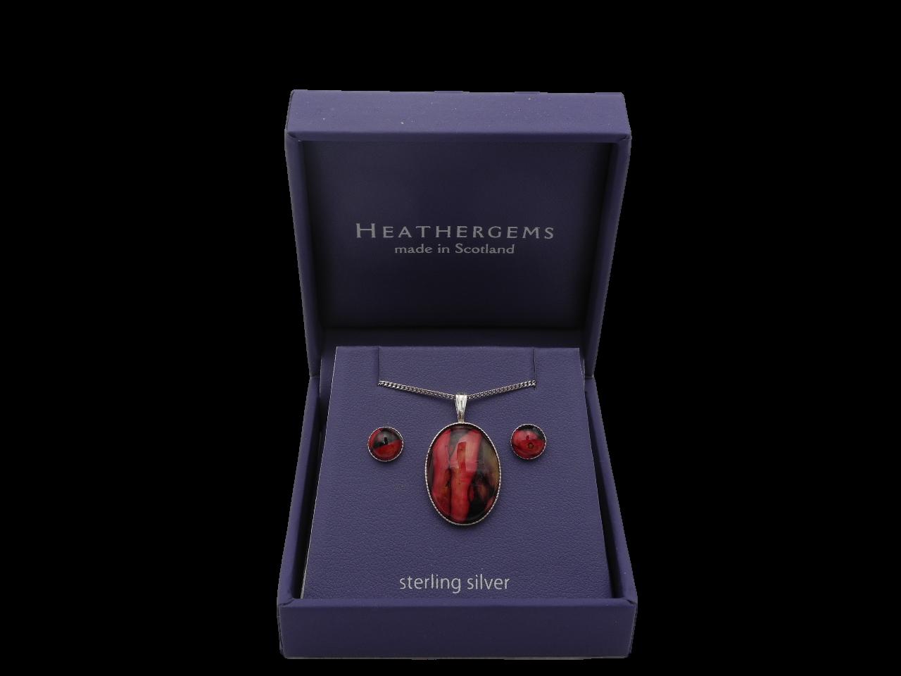 scottish ladies gift pendant necklace earrings heathergem