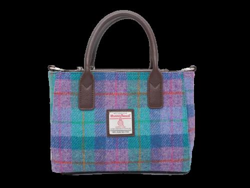 scottish ladies gift harris tweed handbag shoulder bag turquoise check