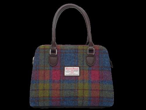 scottish ladies gift harris tweed handbag shoulder bag burgundy green navy check