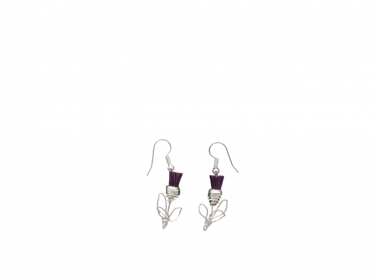 Hand crafted Scotland Scottish thistle earrings