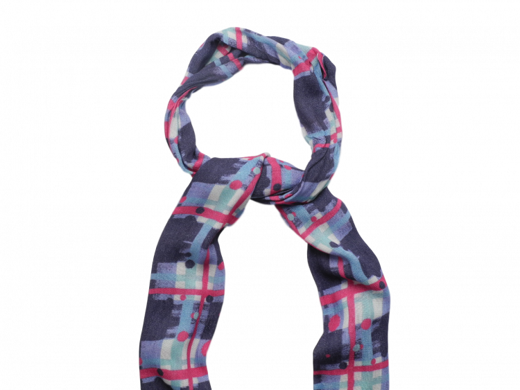Scottish ladies gift tartan effect scarf stole navy