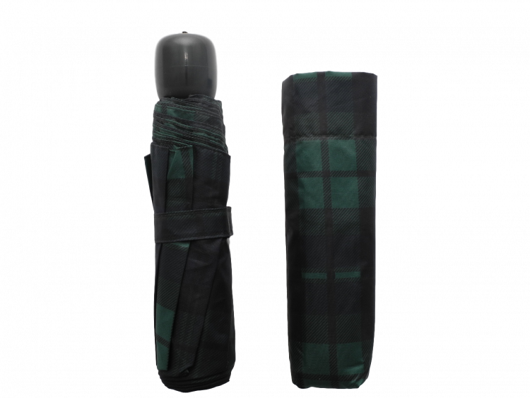 scottish green tartan-effect folding umbrella with cover
