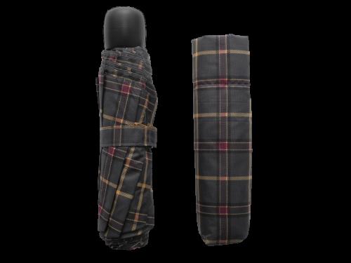 scottish grey tartan-effect folding umbrella with cover