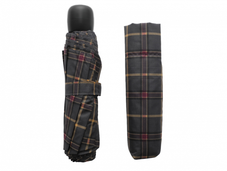 scottish grey tartan-effect folding umbrella with cover