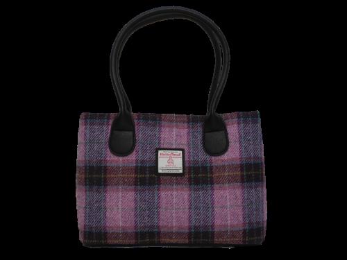 scottish ladies gift harris tweed handbag lilac check