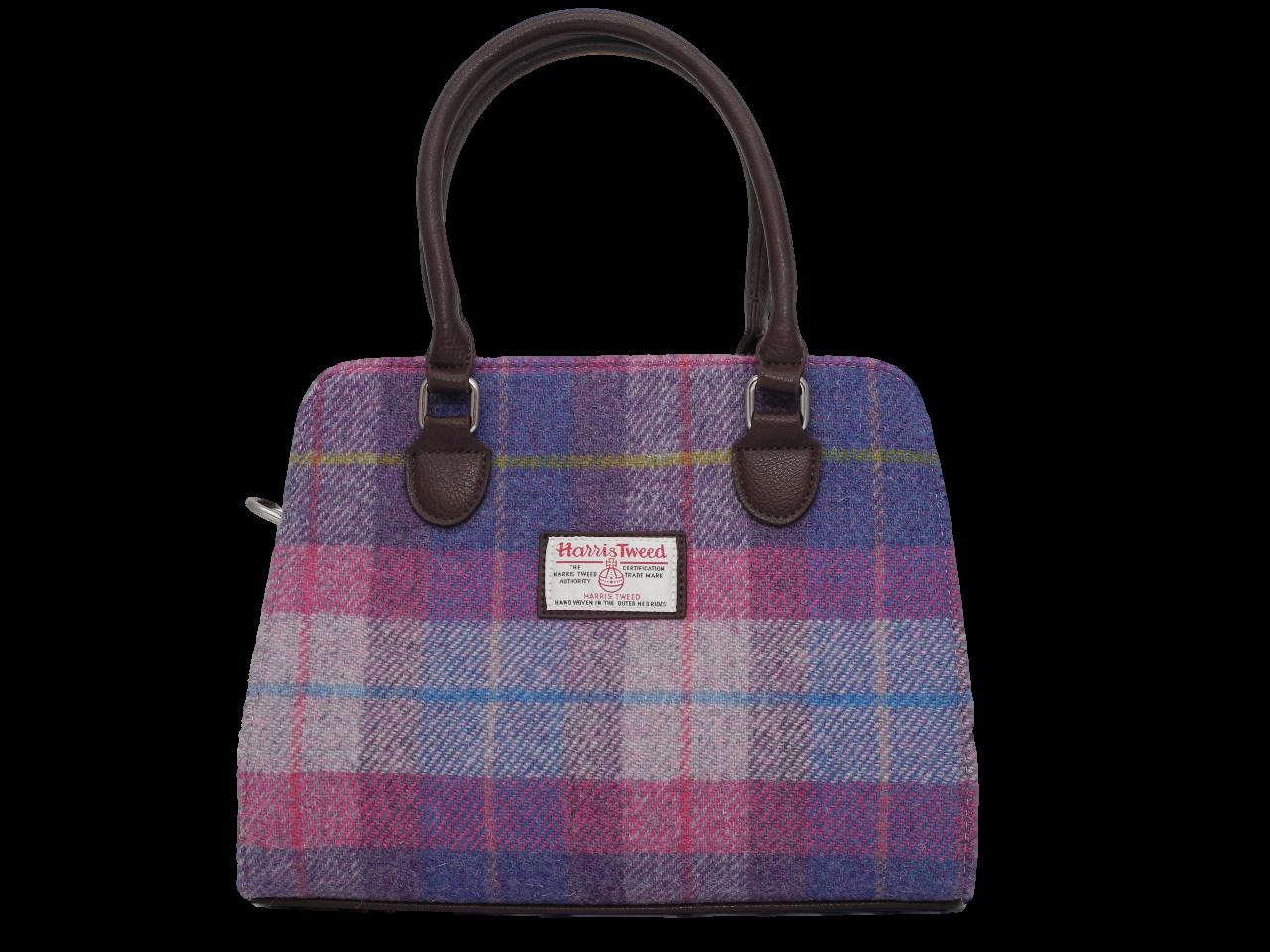 scottish ladies gift harris tweed handbag shoulder bag burgundy cerise blue check
