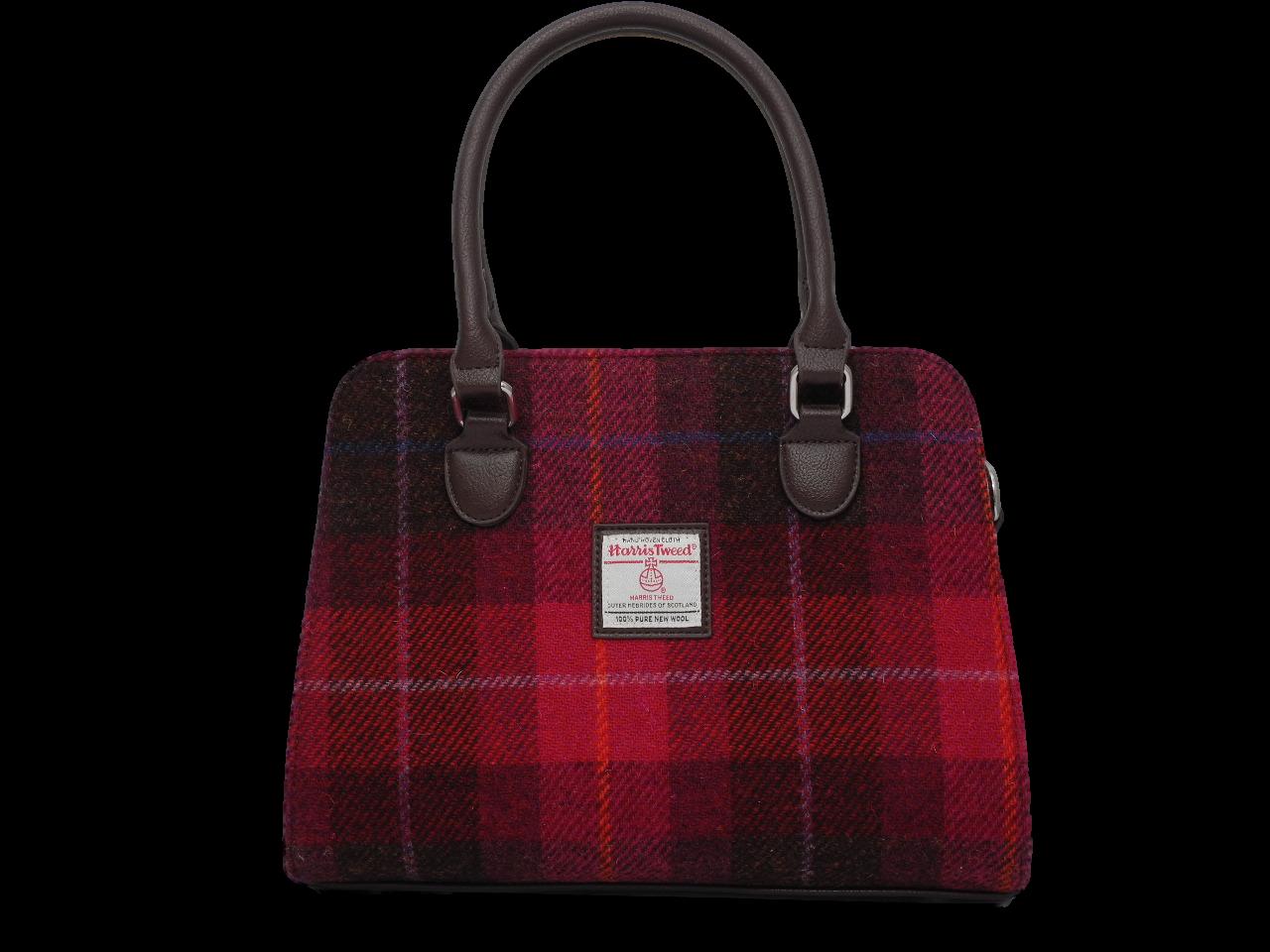scottish ladies gift harris tweed handbag shoulder bag red check
