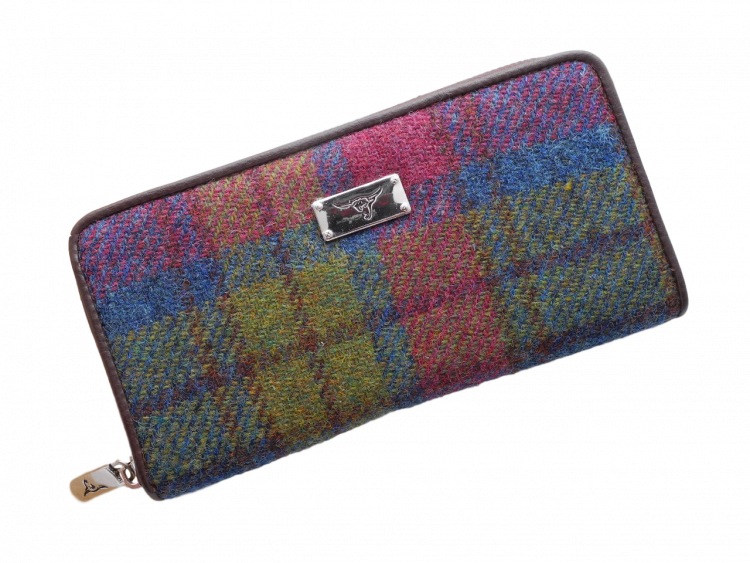 scottish ladies gift harris tweed purse green burgundy check