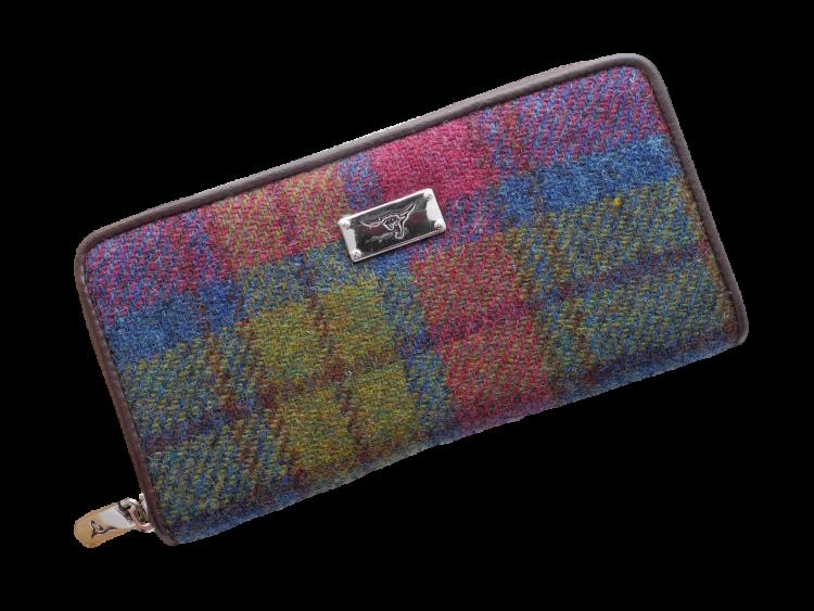 scottish ladies gift harris tweed purse green burgundy check