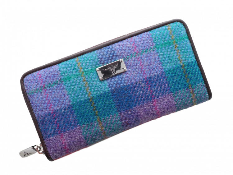 scottish ladies gift harris tweed purse turquoise cerise check
