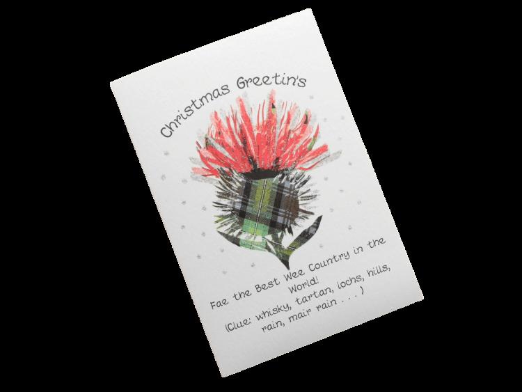 scottish christmas card thistle doric scots language