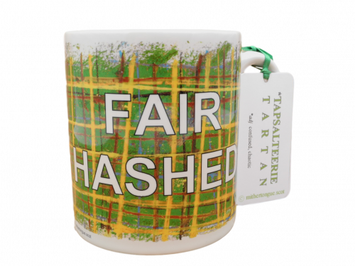 Scottish Scots Doric language tartan ceramic mug fair hashed