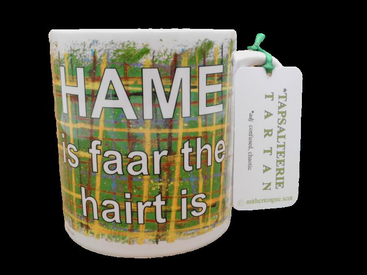 Scottish Scots Doric language tartan ceramic mug hame is faar the hairt is
