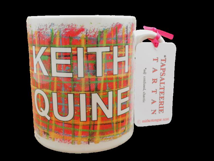 Scottish gift Scots Doric language tartan ceramic mug town keith quine red