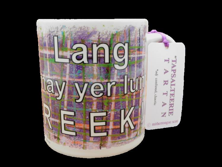 Scottish Scots Doric language tartan ceramic mug lang may yer lum reek