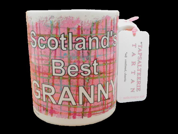 Scottish Scots Doric language tartan ceramic mug scotland's best granny