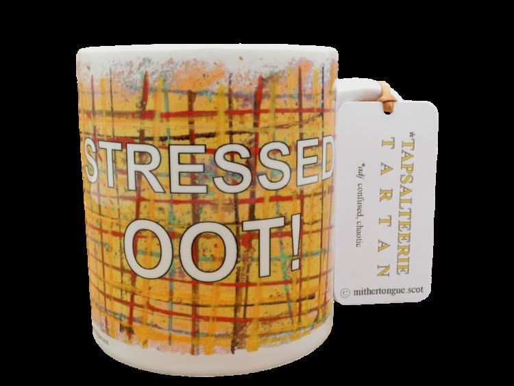 Scottish Scots Doric language tartan ceramic mug stressed oot