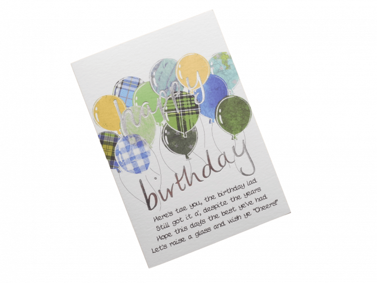 scottish birthday card tartan balloons blue doric scots language