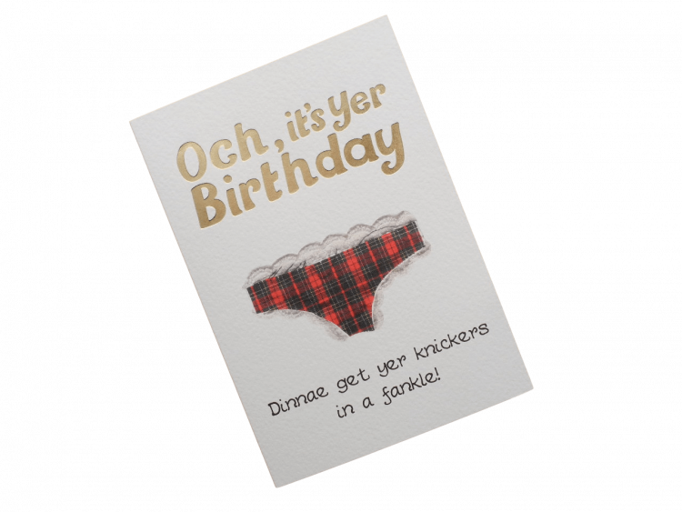 scottish birthday card tartan pants doric scots language