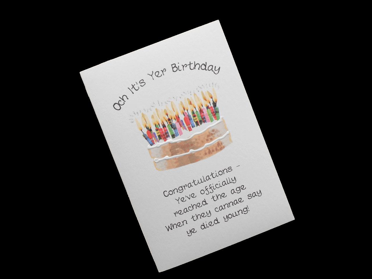 scottish birthday card cake candles tartan doric scots langauge
