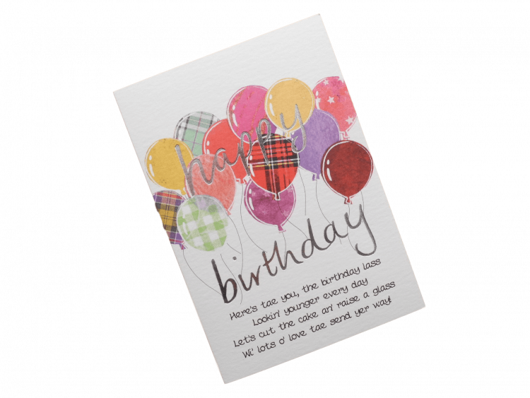 scottish birthday card female tartan balloons pink doric scots language