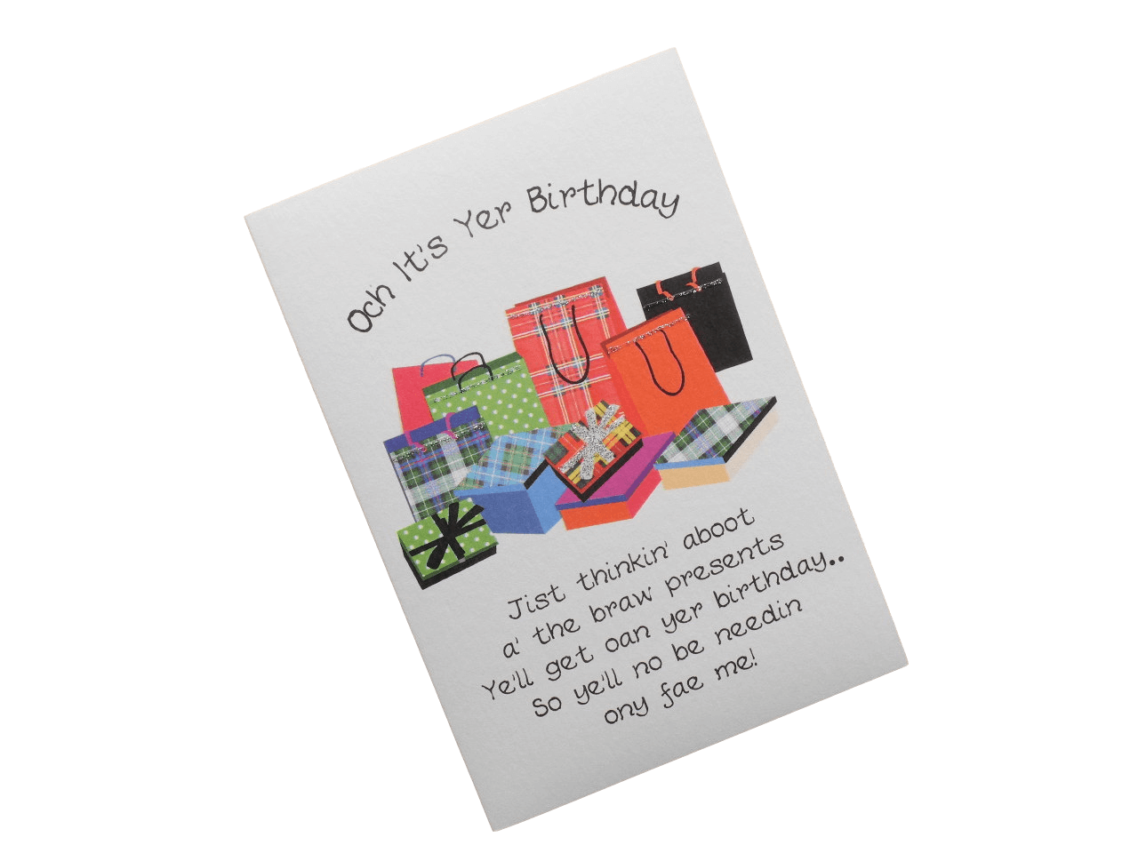 scottish birthday card tartan presents doric scots language