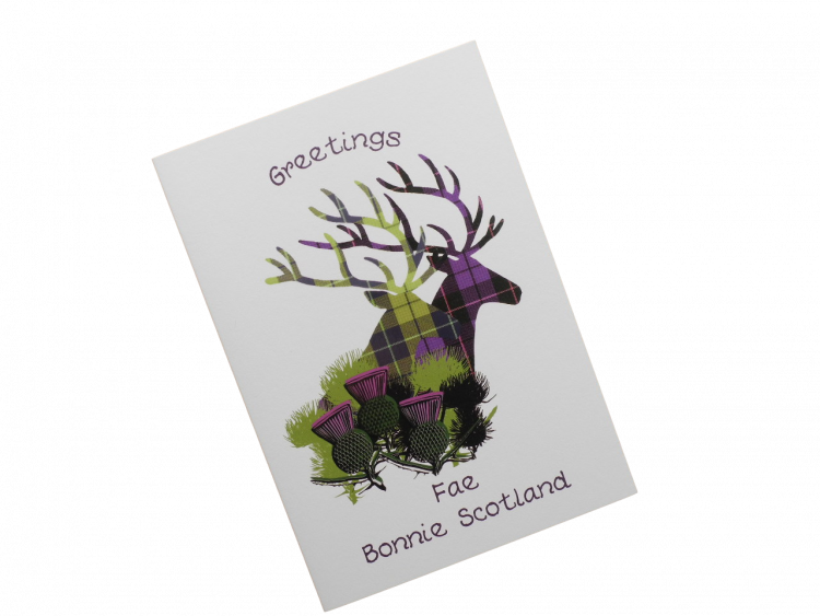 scottish card from scotland tartan thistles stags doric scots language