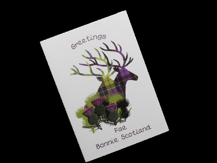 scottish card from scotland tartan thistles stags doric scots language
