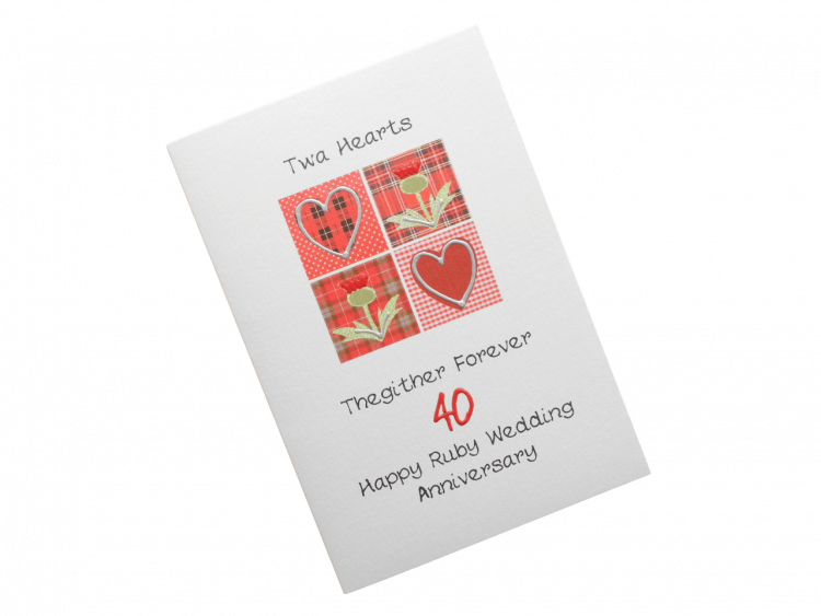 scottish ruby 40th anniversary card tartan hearts thistles doric scots language