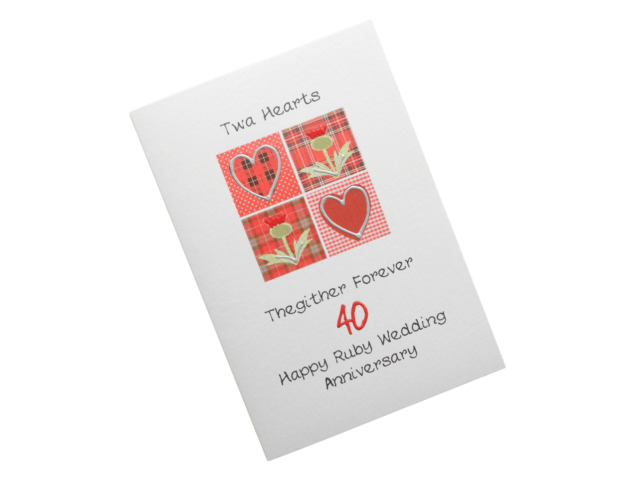 scottish ruby 40th anniversary card tartan hearts thistles doric scots language
