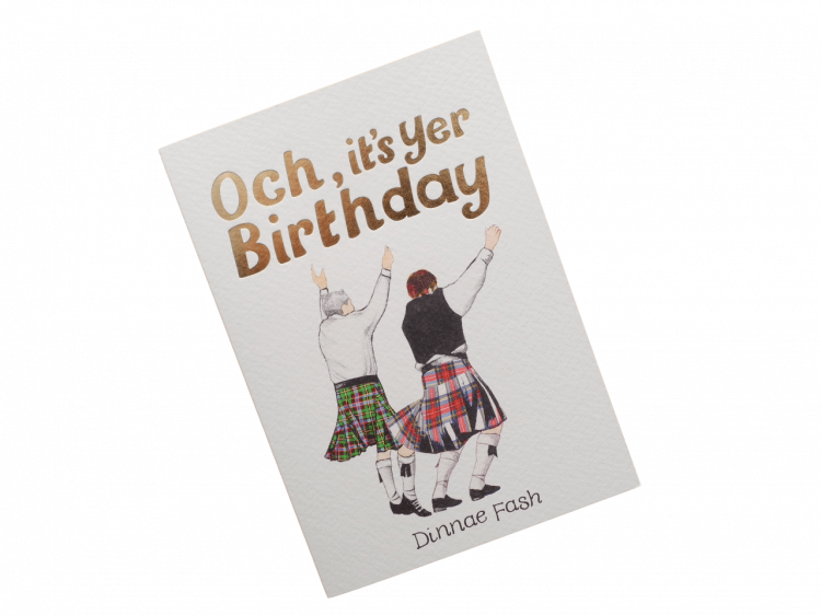 scottish birthday card tartan kilts dancers scots doric language