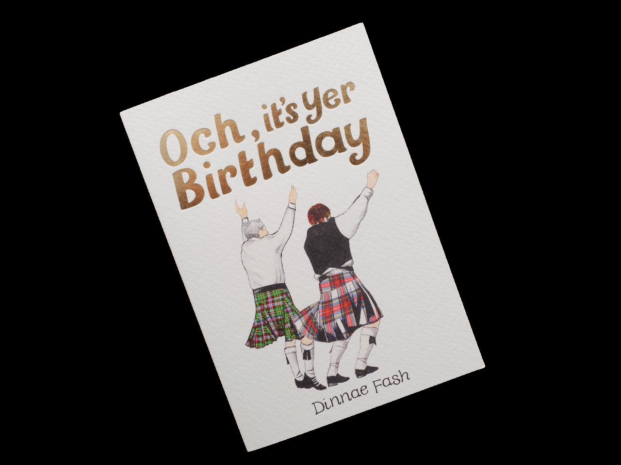 scottish birthday card tartan kilts dancers scots doric language