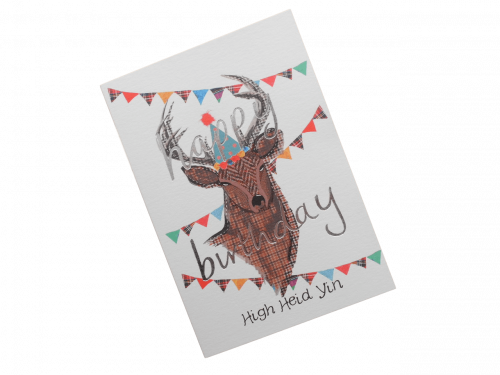 scottish birthday card tweed tartan stag doric scots language