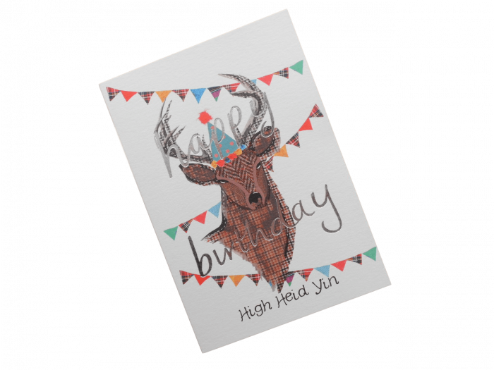 scottish birthday card tweed tartan stag doric scots language