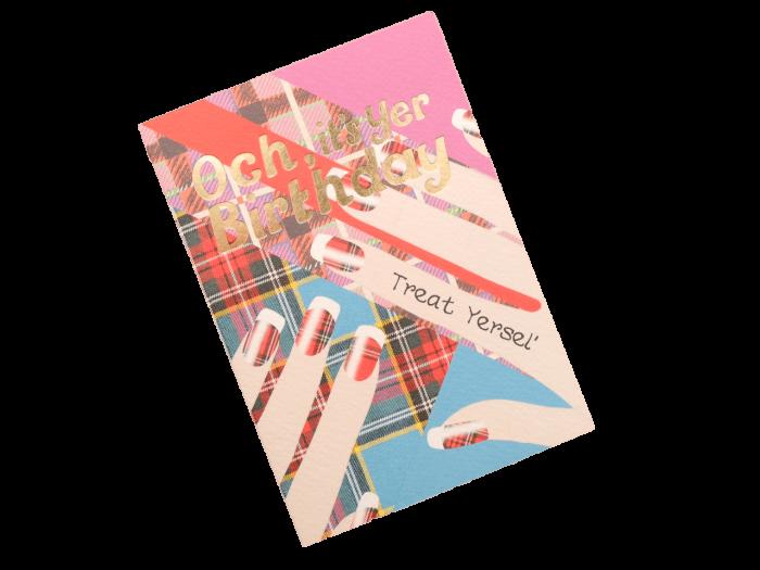 scottish birthday card tartan nail art doric scots language humorous funny