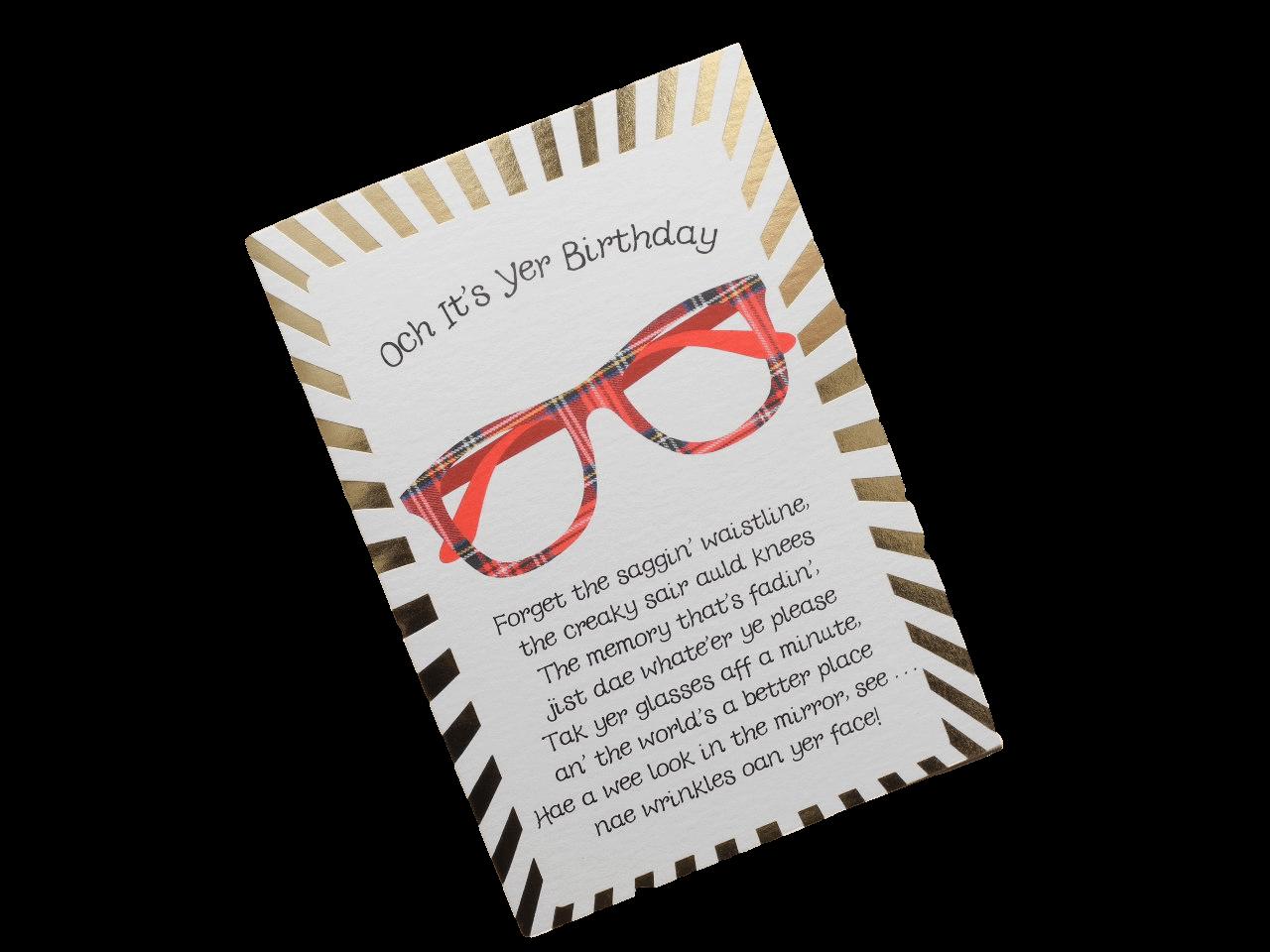 scottish birthday card tartan specs glasses scots doric language funny verse